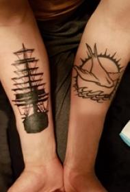 纹身小帆船 男生手臂上鸽子纹身小帆船图片