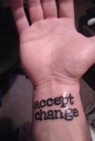 花体英文纹身 男生手腕上花体英文纹身黑色图案
