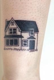 手臂纹身素材 男生手臂上黑色的建筑物纹身图片