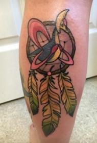 捕梦网纹身图 女生小腿上彩色的捕