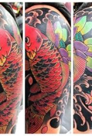 纹身红鲤鱼 男生手臂上鲤鱼纹身图