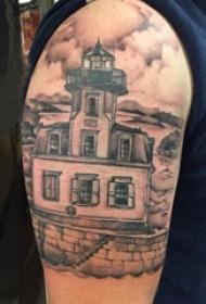 建筑物纹身 男生手臂上建筑物纹身图片