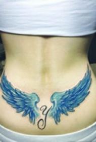 精美翅膀腰部纹身
