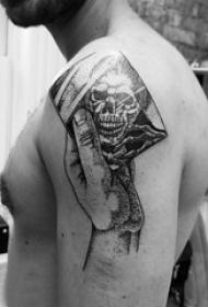 纹身骷髅头 男生手臂上骷髅纹身图案