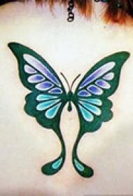 精美蝴蝶颈部纹身