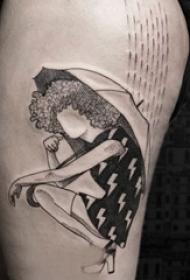 简单线条纹身 多款简单线条纹身黑色欧美抽象纹身经典图案