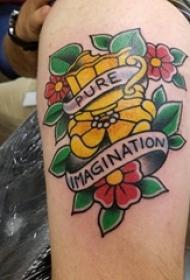 文艺花朵纹身 男生小腿上彩色花朵纹身图案