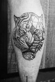 老虎图腾纹身 多款黑灰纹身点刺技巧老虎图腾纹身图案