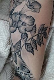 文艺花朵纹身 女生手臂上文艺花朵纹身图案