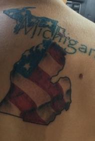 美国国旗纹身 男生背部美国国旗纹身图片