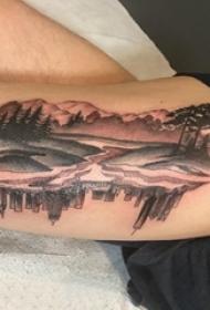 纹身大腿男 男生大腿上建筑物和风景纹身图片