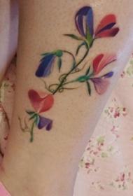 小腿对称纹身 男生小腿上彩色的花朵纹身图片