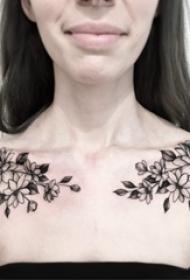 欧美锁骨纹身图 多款简单线条纹身素描欧美锁骨纹身图案