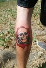 纹身骷髅头 男生小腿上骷髅纹身图案