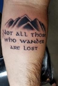 小山岳纹身 男内行臂上花体英文纹身山川图片