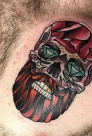 纹身骷髅头 男生胸部彩绘纹身骷髅纹身图片