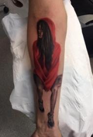 人物纹身图案 男生手臂上人物肖像纹身图片
