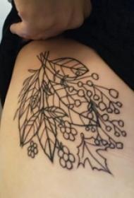 纹身树枝 女生大腿上树枝纹身图片