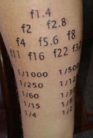 纹身数字设计 男内行臂上黑色的数字纹身图片