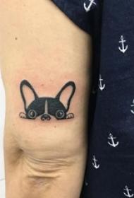 小狗纹身图片 女生手臂上黑色的狗纹身图片