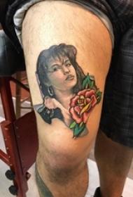 女生人物纹身图案 男生大腿上花朵纹身女生人物纹身图案