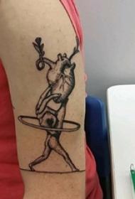 手臂纹身素材 男生手臂上人物和心脏纹身图片