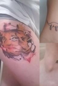 大腿纹身传统 女生大腿上彩色的老虎纹身图片