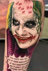 小腿對稱紋身 男生小腿上彩繪的小丑紋身圖片