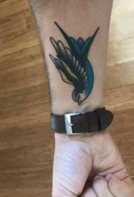 纹身鸟 男生手腕上小鸟纹身图案