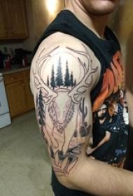 双大臂纹身 男生大臂上大树和鹿纹身图片