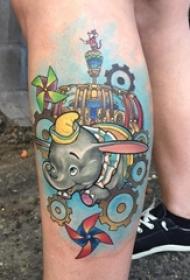 小腿对称纹身 女生小腿上彩色的象纹身图片