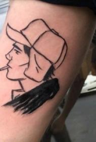 极简线条纹身 男生手臂上黑色的人物肖像纹身图片