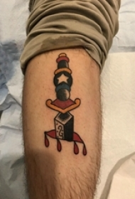 欧美匕首纹身 男生小腿上匕首纹身图案