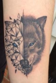 狼纹身 男生手臂上狼纹身动物纹身图片