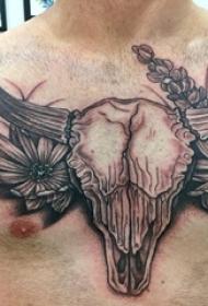 山羊头纹身撒旦 男生胸部羊头骨纹身图片
