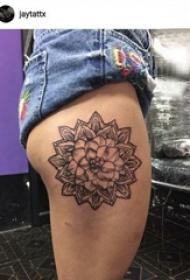 梵花纹身 女生大腿上梵花纹身唯美图案