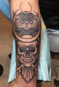 骷髅纹身 男生手臂上骷髅纹身猫头鹰图案