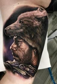 狼纹身 男生手臂上狼纹身人物纹身图片