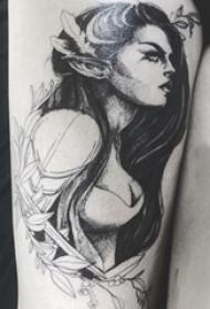 纹身腿部 女生大腿上植物和人物肖像纹身图片