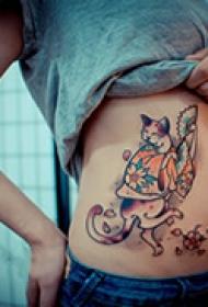 抽象艺术腰部纹身