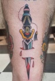 匕首纹身图案 男生小腿上彩色的匕首纹身图片