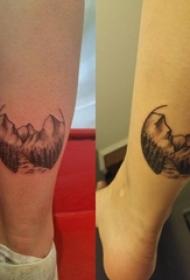 小山岳纹身 女生小腿上小山岳纹身图片