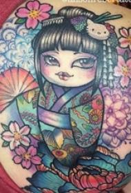 纹身日本艺妓图片 女生背部彩绘纹身日本艺妓图片