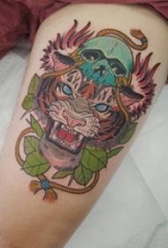 老虎图腾纹身 男生大腿上老虎图腾纹身图案