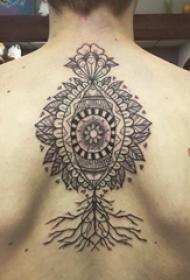 梵花纹身 男生背部简单线条纹身梵花纹身图片