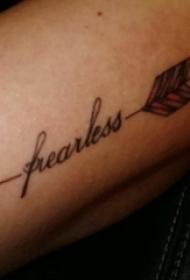 花体英文纹身 男生手臂上花体英文纹身箭头纹身图片