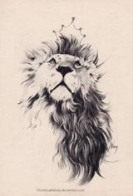 纹身狮子头手稿 黑灰纹身动物纹身