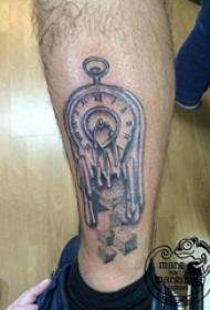 欧美怀表纹身 男生小腿上欧美怀表纹身图案