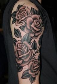 欧美玫瑰纹身 男生手臂上玫瑰小清新纹身图片