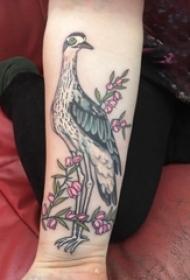 小动物纹身 女生手臂上花朵和鸟纹身图片